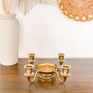 Vintage Aged Solid Brass Candle Candelabra MCM